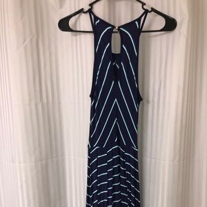 Blue and turquoise stripe dress